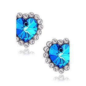 Women's Synthetic Sapphire Stud Earrings Imitation Diamond Earrings Heart Star Love Ladies Luxury Jewelry Blue For Wedding Daily Masquerade Engagement Party Pr