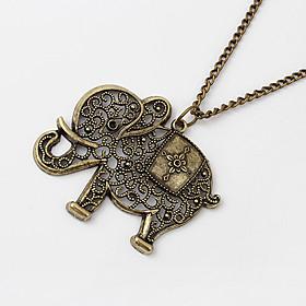 European Style Hollow Elephant Coppery Alloy Pendant Necklace