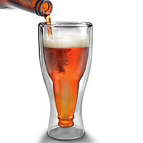 350cc Heat-Resistant Glass Beer Cup Creative Double Wall Glass Cup, Win Cup Large Cup Of Water 4611