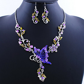 Women's Jewelry Set Butterfly Ladies, Vintage, European Include Drop Earrings Pendant Necklace Green / Blue / Pink For Wedding Party Special Occasion Birthday