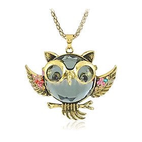 Women's Pendant Necklace / Vintage Necklace - Imitation Diamond Owl Personalized, Luxury, Fashion Golden Necklace Jewelry 1pc For Daily, Casual