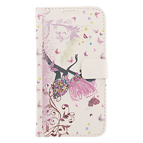Butterfly Girl Drawing Pattern Faux Leather Hard Plastic Cover Pouches for Samsung Galaxy Note2 N710