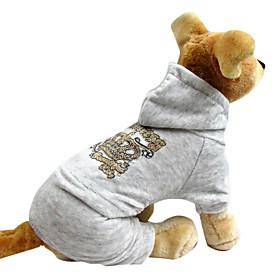 Schöne Velvet Crown Print Warm Vierbeinige Pants mit Kapuze für Haustiere Hunde (verschiedene Farben, Größen) 835270