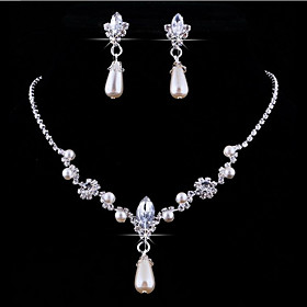 Pearl Jewelry Set - Pearl, Crystal, Rhinestone Drop, Flower Personalized, European Include Pendant Necklace For Wedding Party / Imitation Diamond / Earrings