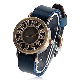 Unisex Round Leather Quartz Analog Wrist Watch
