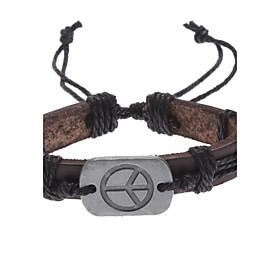 Men's Chain Bracelet ID Bracelet Leather Bracelet - Leather Peace, Peace Sign Unique Design, Fashion Bracelet Brown For Christmas Gifts Daily