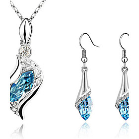 Women's Sapphire Crystal S Shaped Jewelry Set Crystal, Cubic Zirconia, Rhinestone Drop Ladies, Fashion, Elegant Include Drop Earrings Pendant Necklace Earrings