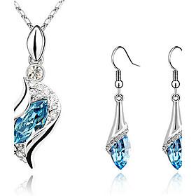 Women's Sapphire Crystal S Shaped Jewelry Set Crystal, Cubic Zirconia, Rhinestone Drop Ladies, Fashion, Elegant Include Drop Earrings Pendant Necklace Earrings