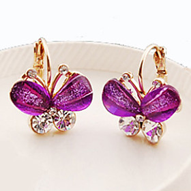 Women's Crystal Stud Earrings - Crystal, Rhinestone Butterfly, Animal Classic Purple / Green / Blue For Daily Casual