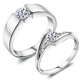 Women's Couple Rings - Copper, Platinum Plated, 18K Gold Fashion Adjustable Silver For Wedding Party Daily / Rhinestone / Alloy