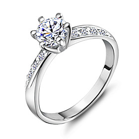 Band Ring - Copper, Platinum Plated, 18K Gold 5 / 6 / 7 / 8 / 9 Silver For Wedding Party Daily / Rhinestone / Alloy