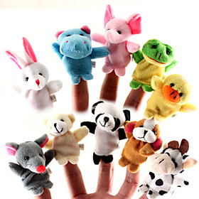 Animal For Bedtime Stories Finger Puppets Puppets Cute Lovely Cartoon Textile Silicone Plush Girls' Gift 10pcs 1043788