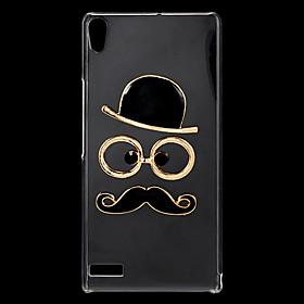 Fashion Rhinestones 3D Deluxe Hat Glasses Moustache Design Transparent Hard Back Case for Huawei P6 990064
