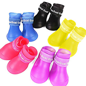 Dog Boots / Shoes Waterproof Rain Boots Solid Colored Yellow Red Blue For Pets / Summer