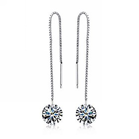 Women's Drop Earrings - Sterling Silver, Cubic Zirconia Silver For Party Daily Casual