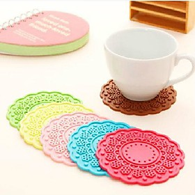 Round Flowers Silicone Coaster Cup Holder Heat Insulation Pad Candy Color Optional 1132431