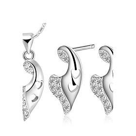 Viento Plata plateada plata (collares y aretes) Set de Joyas de boda