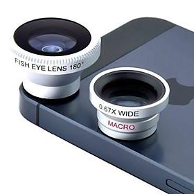 Magnético 3 em 1 lente grande angular / lens/180 Macro lente olho de peixe / Kit Conjunto para iPhone 5/4 / iPad / Celular 1157536