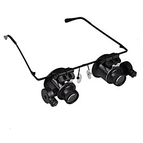 20X Magnifier Magnifying Eye Glasses Jeweler Watch Repair LED Light Glasses Loupe Lens 1131249