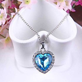 Women's Synthetic Sapphire Pendant Necklace Austria Crystal Heart Love Ladies Fashion Blue Necklace Jewelry For Wedding Party Special Occasion Anniversary Gift