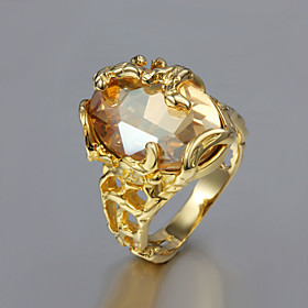 Women's Solitaire Statement Ring - Gold Plated, 18K Gold Fashion 6 / 7 / 8 / 9 For Wedding Party Gift / Cubic Zirconia