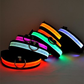 Cat Dog Collar LED Lights Adjustable / Retractable Solid Colored Nylon Green Blue Pink
