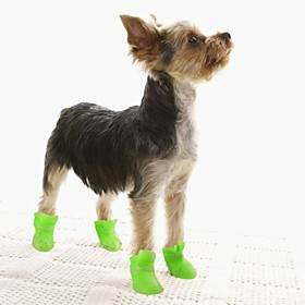 Cat Dog Boots / Shoes Anti-Slip Sole Jelly Shoes Waterproof Solid Black Purple Yellow Blue Pink For Pets 1262129