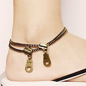 shixin mulheres góticas zip bronze tornozeleira de cobre (22 centímetros  2cm  2cm) (bronze) (1 pc) 1124215