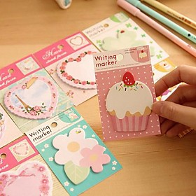 Flower Cake Heart Pattern Self-Stick Note(Random Color) 1329204