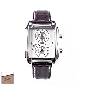 Personalized Father's Day Gift Men's Rectangle Brown PU Band Analog Engraved Watch with Rhinestone 1282534