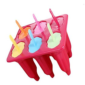 6 Cups General Shape Popcicle Moulds Tray,  Food Safe PP Material, Random Color 1321717