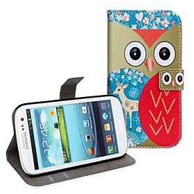 Owl Print Leather Wallet Case Cover With Stand Fit For Samsung Galaxy S3 i9300
