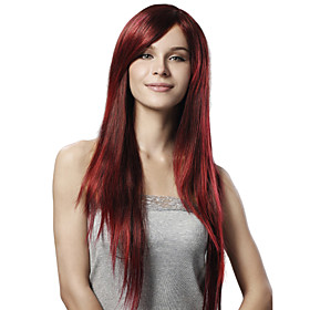 Capless Extra Long Straight Red Synthetic Wig Side Bang 115832