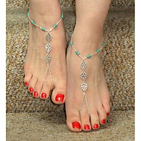 Anklet Barefoot Sandals - Flower Personalized, Unique Design, European Silver-Blue For Christmas Gifts Daily Casual Women's