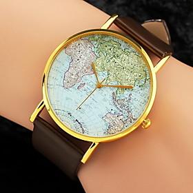 Women's Wrist Watch World Map Quartz Quilted PU Leather Black / White / Brown World Map Pattern Analog Ladies Charm Fashion - White Black Brown One Year Batter