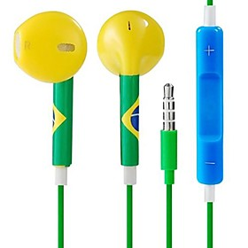 FIFA World Cup Brazil 3.5 mm In-ear Volume Control Earphones with Microphone for Apple iPad iPhone iPod