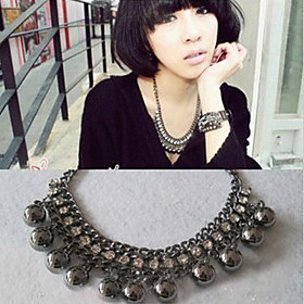 Fashion Black Balls Alloy Statement Necklace (1 Pc)