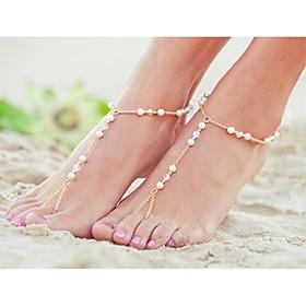 shixin classico della lega di perle di cristallo irregolari nudi sandalo (oro, argento) (1 pc) 1406136