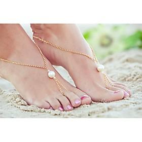 shixin della perla della lega classico sandalo a piedi nudi (oro, argento) (1 pc) 1406234
