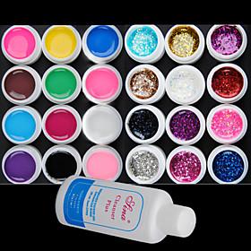 25PCS Mixs Color UV Color Gel within 12 Pure12 Glitter Hexagon SheetCleanser Plus(Random Color) 1526717