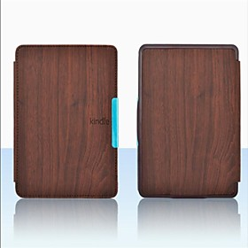 Shy Bear(tm) Wood Style Upgrade Slim PU Leather Cover Case for Amazon Kindle Paperwhite 4 Colors