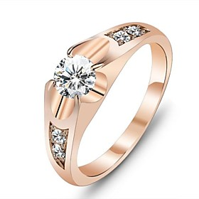 Women's Diamond Solitaire Statement Ring Rose Gold Cubic Zirconia Gold Plated Love Ladies Unique Design Ring Jewelry Gold For Wedding Party Gift Daily Masquera