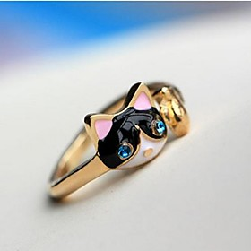 Women's Statement Ring Imitation Diamond Alloy Cat Animal Ladies Personalized Luxury Fashion Ring Jewelry Dark Blue For Party Daily Casual 10 / Crystal
