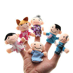 Family Finger Puppets Puppets Cute Family Interaction Parent-Child Interaction Lovely Novelty Plush Girls' Gift 6pcs 1535349