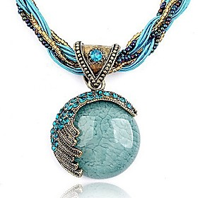 Women's Turquoise Twisted Pendant Necklace Bohemian European Fashion Boho Red Green Blue 425 cm Necklace Jewelry 1pc For Party Birthday Gift Daily Casual