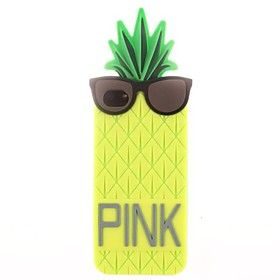 Pineapple Wearing Glasses Silicone Soft Case for iPhone 4/4S 1501045