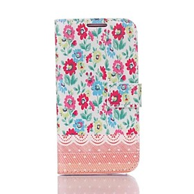 Case Flip Flower Stampa Faux Leather con slot per schede basamento per Samsung Galaxy S4 i9500