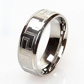 Z&X Men's Fashion And Personality Great Wall Lines Titanium Steel Ring
