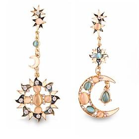 Women's Drop Earrings - Imitation Diamond Moon Personalized, Luxury, European Golden For Wedding Party Daily