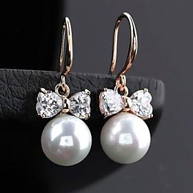 Women's White Pearl Drop Earrings Hoop Earrings Cubic Zirconia Earrings Jewelry Silver / Rose Gold / Champagne For 1pc